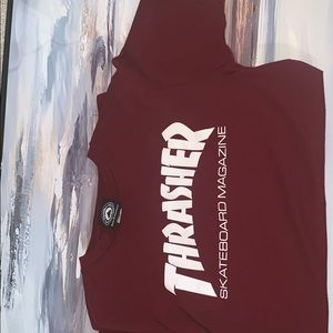 Men's or womens Maroon thrasher tee
